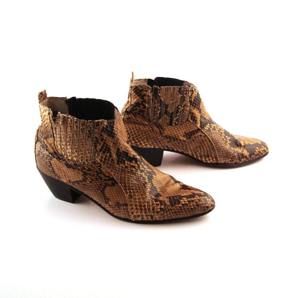 snakeskin boots vintage 1980s s size 7 1 2
