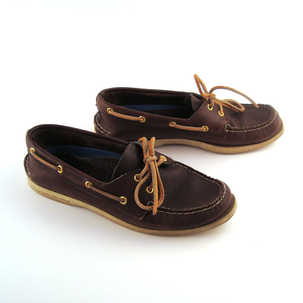 Brown Boat Shoes Vintage 1990s Sperry Topsiders Leather Lace