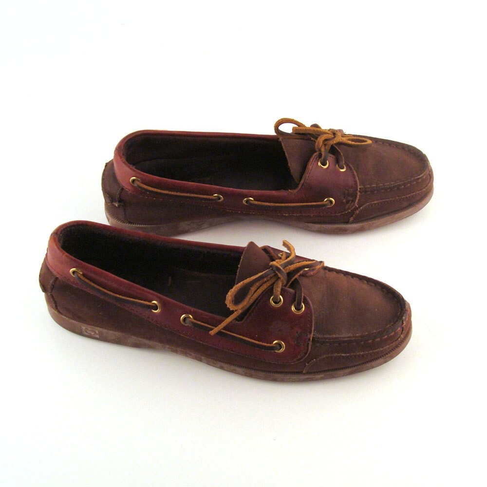 Distressed Boat Shoes Vintage 1980s Brown Distressed Leather
