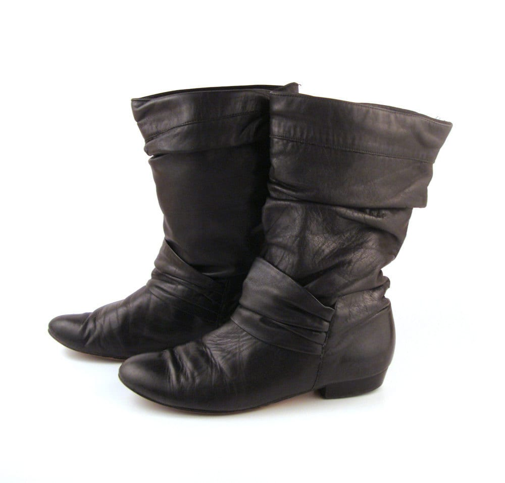 black ankle boots vintage 1980s flat black leather booties