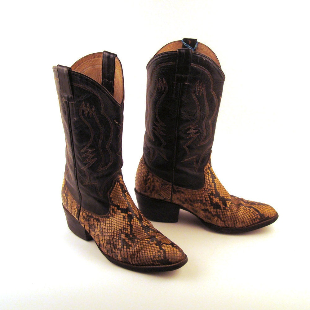 snakeskin cowboy boots vintage 1980s snakeskin and brown