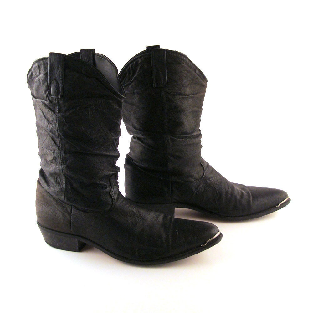 s cowboy boots vintage 1980s s black slouch