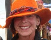 Bright Orange Alpaca Hand Felted Hat