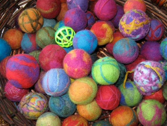 Colorful Felted Cat Balls