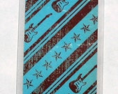 Guitars and stars double-sided bookmark