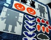 Fall \/ Halloween Robot Vinyl Sticker Play Set - bats, cats, leaves