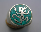 Vintage silver Ring Eagle 3 Mexico Mexican Turquoise Inlay  Southwestern Jewelry
