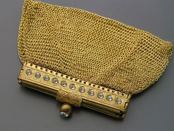 Vintage 1950s Crystal Gold Plated Germany US Zone Mesh Chanteline Coin Purse