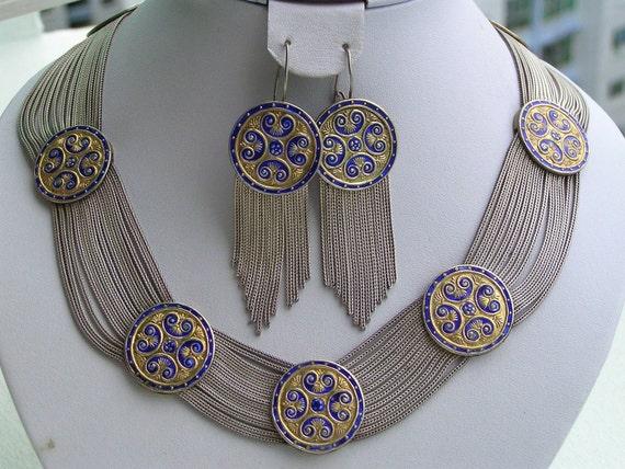Rare Middle Eastern Turkish Enamel Gold Sterling Silver Egyptian Revival Necklace Tassel Earrings