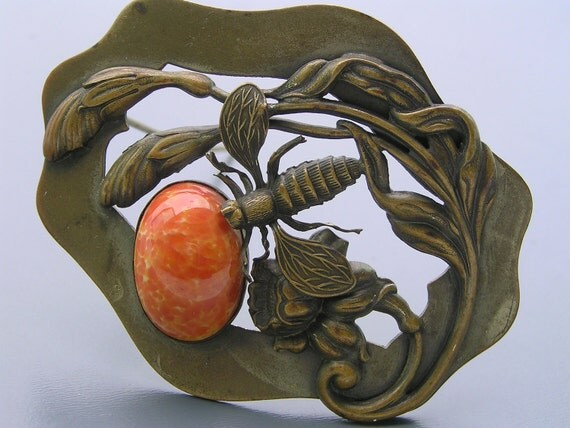 Reserved Antique Art Nouveau Bumble Bee Flower Orange Dragon Egg Glass Sash pin Brooch LARGE
