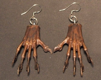 MYSTERY HAND EARRINGS (natural brown) occult voodoo charm taxidermy jewelry