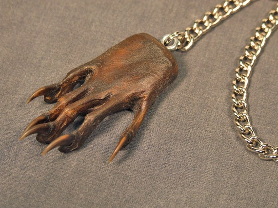 MYSTERY HAND FOB watch chain taxidermy jewelry (real animal paw)