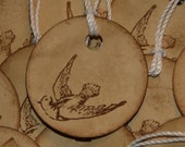 12 Round Dove Wedding Favor Tags