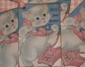 Girl Birthday Gift Tags-Happy Birthday Kitty Pink Phone
