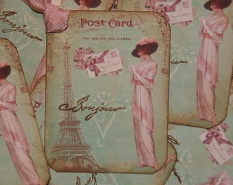 Post Card From Paris Gift Tags