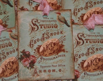 6 Vintage Image Advertising Photographer Studio Shabby Romantic Hang Gift Tags