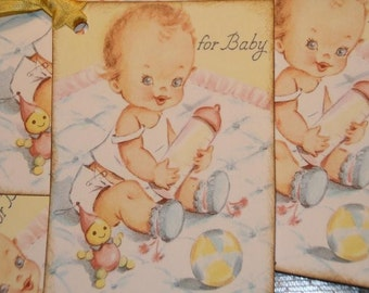 For Baby Vintage Shower Gift Hang Tags