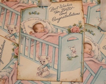 Vintage Baby Wishes and Congratulations Gift Tags or Shower Tags