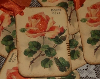 Paris Rose Vintage Postcard Bonne Fete Gift Tags