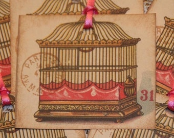 Paris Inspired Vintage Postcard Bird Cage Gift Hang Tags