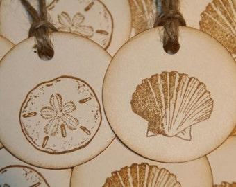 Beach Wedding Tags-Summer Sea Shells Gift Tags Beach Wedding Favor Tags