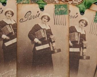 Paris Holiday Shopper Vintage Christmas Tags