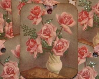 Shabby Pink Roses Gift Hang Tags