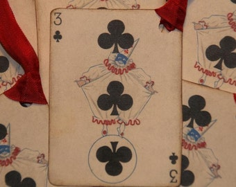 Vintage Playing Card 3 of Clubs Clown Gift Tags
