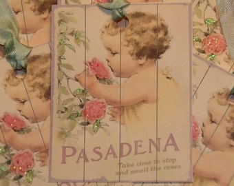 Pasadena Gift Tags, Take Time to Stop and Smell the Roses Gift Tags, Vintage Rose Tags