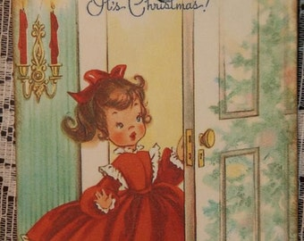 It's Christmas , Christmas Gift Tags from a Vintage Greeting Card