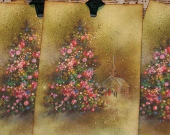 Vintage Winter Glitter Christmas Tree Tags