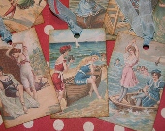 A Day At The Beach Vintage Bathing Beauties Gift Tags