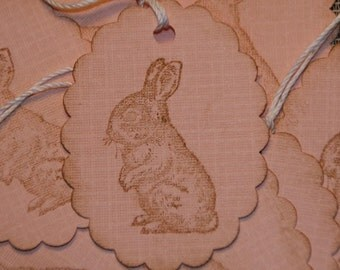 Pink Bunny Oval Hand Stamped Gift Tags