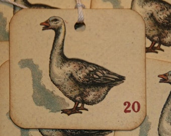 Vintage Duck Playing Card Gift Tags