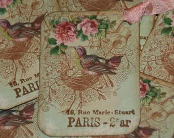 Paris French Inspired Birds Nest Pink Roses Gift Hang Tags