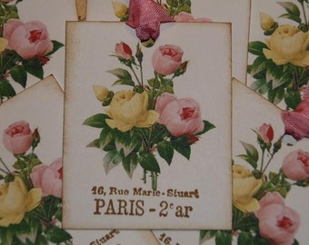 Vintage Paris Pink and Yellow  Roses Tags