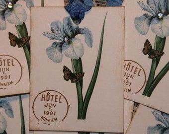 Blue Iris Flower Gift Tags with Rhinestone