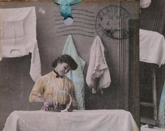 Ironing Days Vintage Postcard Gift Tags