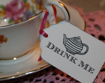 Drink Me Tags, Alice in Wonderland Drink Me Tags, 24 Vintage Tea Party or Wedding Tags,You Pick Color of Ribbon and Ink