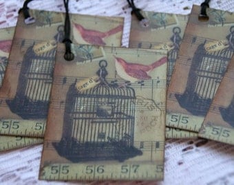 Altered Art Bird Cage Gift Tags