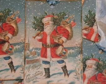 Christmas Vintage Tags - Santa from Vintage Postcard Image Gift Hang Tags