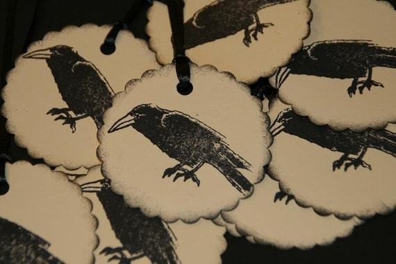 Vintage Halloween Black Crow Raven Gift Tags