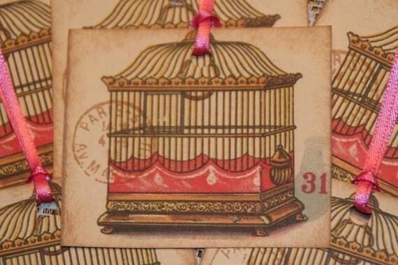 Paris Inspired Vintage Postcard Bird Cage Gift Hang Tags