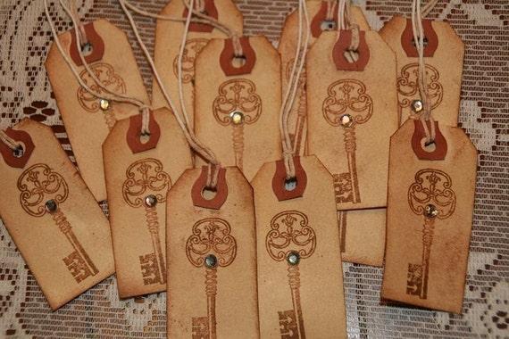 12 Primitive Vintage KEY Gift Tags with Rhinestone Embellishment