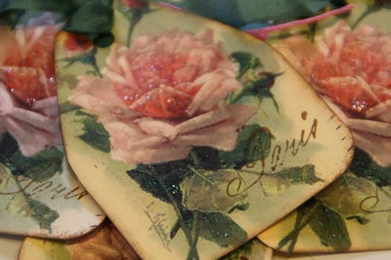 Shabby French Paris Rose Gift Tags