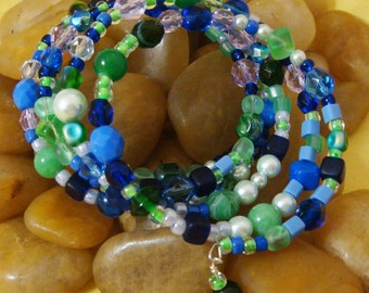 Bracelet, blue and green, glass beads, memory wire, large