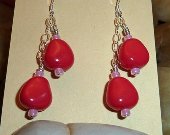 Earrings of dual Czech pearlized nuggets in red