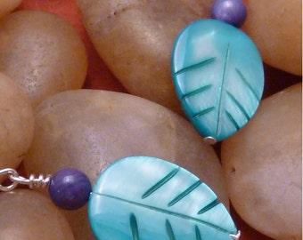Earrings mother of pearl aqua leaf indigo blue round pierced