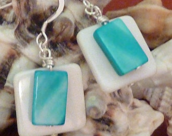 Earrings mother of pearl wte flat sq layered with aqua flat rectangle pierced