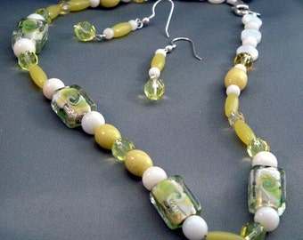 Lemon-Lime Lampwork, Jade and Czech Necklace and Earring Set